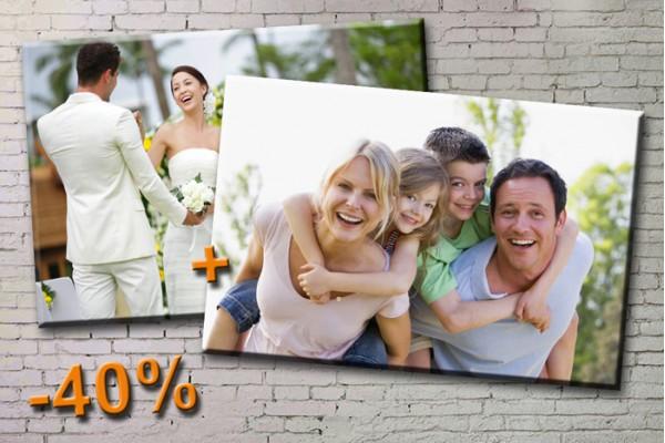 Печать ДВУХ фото на холсте размером 30х40 или 40х60, со скидкой до -50%