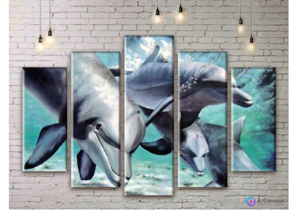 Модульная картина Дельфины AANI5_0038