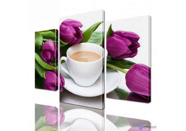 Модульные картины цветы Тюльпаны с Чашкой кофе ADFL0014