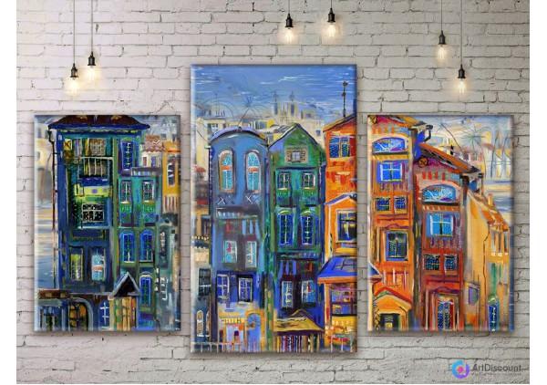 Модульная картина Рисованный город ADG0018